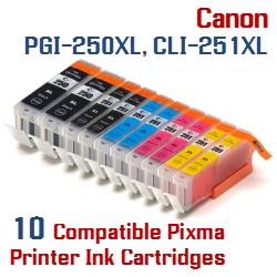 Quick 10- Includes: 2- PGI-250XLBK Black, 2- CLI-251XLBK Black, 2- CLI-251XLC Cyan, 2- CLI-251XLM Magenta, 2- CLI-251XLY Yellow Compatible Canon Pixma printer ink cartridges