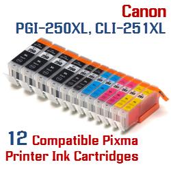 Quick 12- Includes: 4- PGI-250XLBK Black, 2- CLI-251XLBK Black, 2- CLI-251XLC Cyan, 2- CLI-251XLM Magenta, 2- CLI-251XLY Yellow Compatible Canon Pixma printer ink cartridges