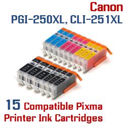 Quick 15- Includes: 3- PGI-250XLBK Black, 3- CLI-251XLBK Black, 3- CLI-251XLC Cyan, 3- CLI-251XLM Magenta, 3- CLI-251XLY Yellow Compatible Canon Pixma printer ink cartridges