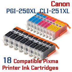 Quick 18- Includes: 6- PGI-250XLBK Black, 3- CLI-251XLBK Black, 3- CLI-251XLC Cyan, 3- CLI-251XLM Magenta, 3- CLI-251XLY Yellow Compatible Canon Pixma printer ink cartridges
