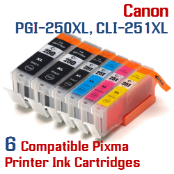 Quick 6 - Includes: 2- PGI-250XLBK Black, 1- CLI-251XLBK Black, 1- CLI-251XLC Cyan, 1- CLI-251XLM Magenta, 1- CLI-251XLY Yellow Compatible Canon Pixma printer ink cartridges