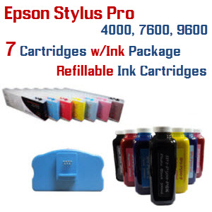 7 Refillable Cartridge with ink package Epson Stylus Pro 7600, 9600 printers