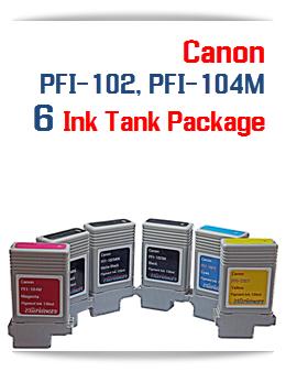 6 Ink Tanks Package - 1 PFI-102BK  Black, 1 PFI-102C  Cyan, 2  PFI-102MBK Matte Black, 1 PFI-102Y Yellow, 1  PFI-104M Magenta