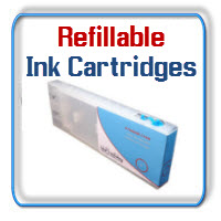 Refillable ink cartridges large format printers