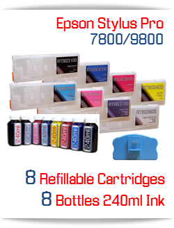 Epson Stylus Pro 7800/9800 Refillable Cartridge Package