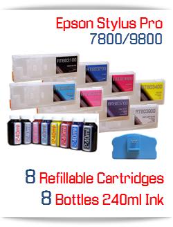 Epson Stylus Pro 7800/9800 Refillable Ink Cartridge Package