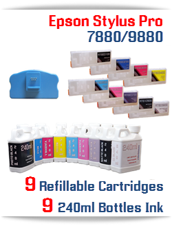 9 Refillable Cartridge with ink- Epson Stylus Pro 7880/9880 refillable cartridges