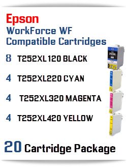 20 Cartridge Package T252XL Epson WorkForce WF Compatible Ink Cartridges