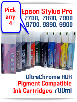 Epson Stylus Pro 7700/9700, 7890/9890, 7900/9900 printers Pick any 4 T636 700ml HDR Pigment ink cartridges