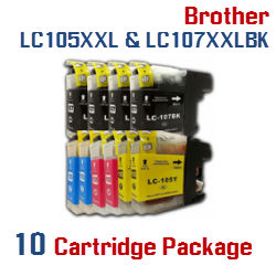 10 LC105XXL, LC107XXL Cartridge Package Brother Ink Cartridges