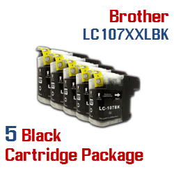 LC107XXLBK Brother 5 Cartridge Package Ink Cartridges