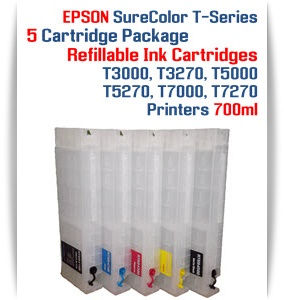 5 Empty Refillable Cartridges EPSON SureColor T3000,T3270 Refillable Printer Ink Cartridges 700ml