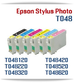 T048 Series Epson Stylus Photo Compatible Printer Ink Cartridges - Cartridges Compatible: T048120 Black, T048220 Cyan, T048320 Magenta, T048420 Yellow, T048520 Light Cyan, T048620 Light Magenta